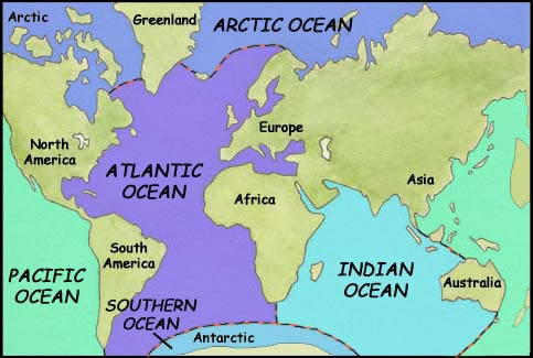 Continents Oceans Geography - Pacific and atlantic ocean map